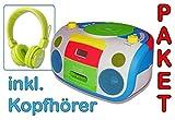 HARLEKIN TRAGBARER KINDER RADIO-KASSETTEN-CD PLAYER STEREOANLAGE BOOMBOX WEISS GRÜN BLAU ROT GELB FM-RADIO 2 x 1,5 W RMS KASSETTENPLAYER ABSPIELGERÄT KASSETTENDECK + NICKELODEON KOPFHÖRER GRÜN