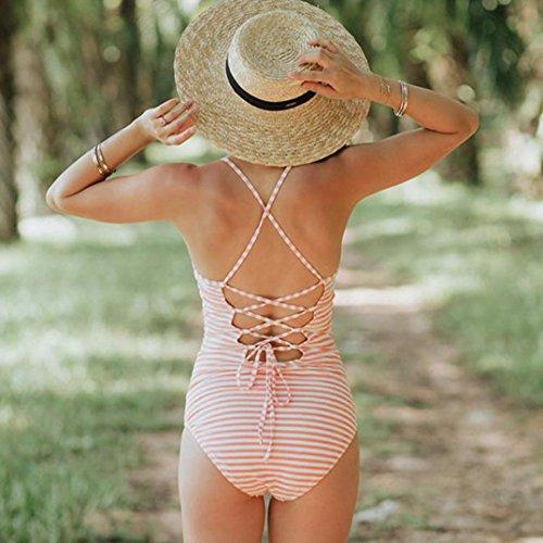 Costume da Bagno Donna Intero Sexy Push Up Witsaye Bikini Intero Donna Sexy Un Pezzo Costume da Bagno Stampato Body Bikini Costume da Bagno Donna Intero Modellante Beachwear Arancia