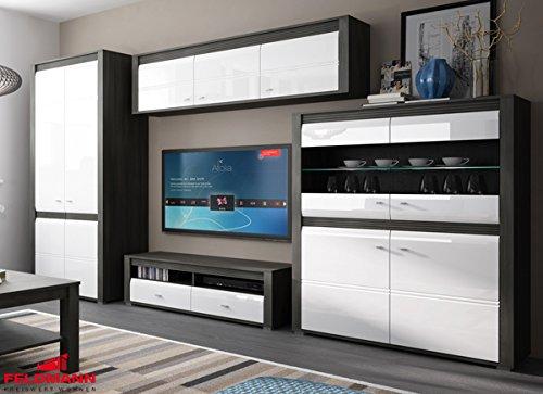 Wohnzimmer komplett 1662022 Wohnwand 4-teilig schwarzkiefer / weiß Hochglanz