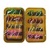 FLAMEER Fliegenfischen köder schachtel mit Taschen 32 Pcs Forellen Angel-Fliegen Kunstköder Set - Modell 4