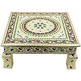 Shubh Meenakari Puja Bajot/Table/Chowki ganpati sinhasan Pooja , Chaurang Subh Labh Design, 15 x 15 x 2.5 inch(01 Bajot 15*15)