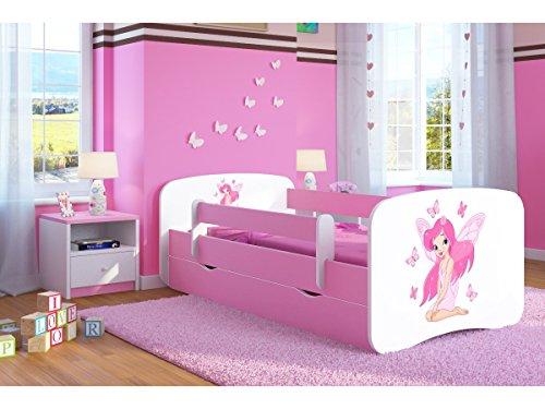 Kocot Kids Kinderbett Jugendbett 70x140 80x160 80x180 Rosa mit Rausfallschutz Matratze Schublade und Lattenrost Kinderbetten für Mädchen - Fee mit Schmetterlingen 160 cm