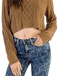 Bigood Camisa Mujer Corta Mangas Largas Cuello Redondo Raya Marrón