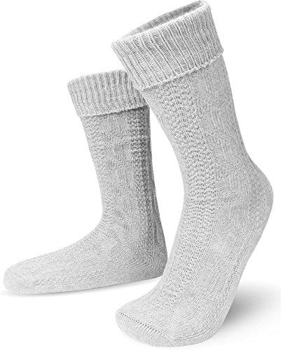 Für Oktoberfest Kostüm Erwachsene Herren Lederhosen - GearUp Kurze Trachtensocken mit Zopfmuster - passend zu jeder bayrischen Trachtenmode Farbe Weiß Größe 43/46