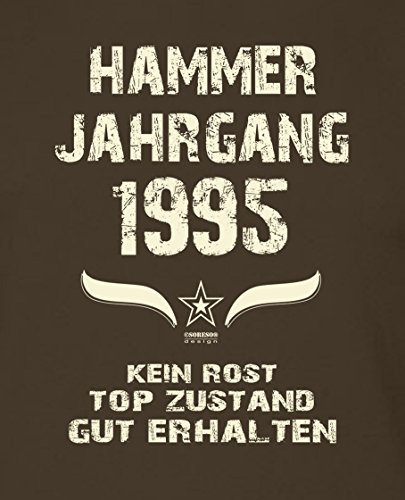Modisches 22. Jahre Fun T-Shirt zum Männer-Geburtstag Hammer Jahrgang 1995 Ideale Geschenkidee zum Jubeltag Farbe: braun Braun
