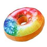 Nunubee Zierkissen Dekorative Donuts Kopfkissen PP Baumwolle Sofakissen Dekokissen Schaumstoff Gefüllt Spielzeug, Mehrfarbig