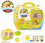 #6: Asian Hobby Crafts Baby Girl's and Baby Boy's Ultimate Chef's Bring Along Kitchen Pretend Play Toys Suitcase Set (Yellow)