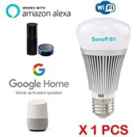 Sonoff B1intelligente RGB + W LED Wi-Fi E27Lampadina intelligente funziona con Amazon ALEXA Google casa Google Nest no Hub required, Ewelink app (Android o OS), W, dimmerabile multicolore colore party luci lampadina (efficienza energetica A +), 1 pezzi, E27 240.00 volts