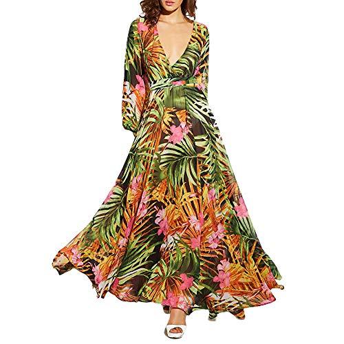 YuJian12 Langarm Kleid grün tropischen Strand Vintage Maxi Kleider Boho lässig V-Ausschnitt Gürtel schnüren Tunika drapiert Plus Size Dress-in Kleider von Frauen Pink-Chiffon -