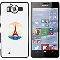 NOKIA Lumia 950 - Aluminum Metal & plastica dura Phone caso - nero - Parigi Torre Eiffel Red Circle Piramide Las Vegas