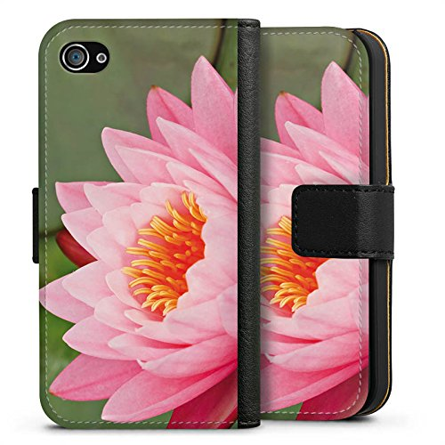 Apple iPhone X Silikon Hülle Case Schutzhülle Seerose Blume Pink Sideflip Tasche schwarz