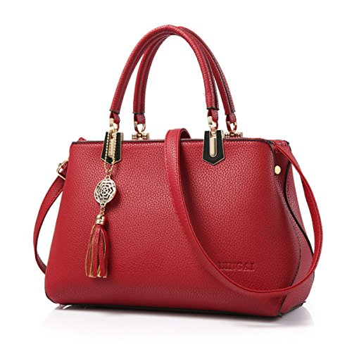 Signora Messenger Borsa Tracolla Tote Bag In Rilievo winered