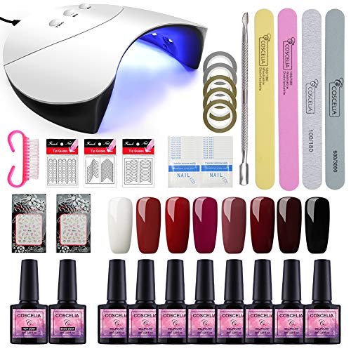Saint-Acior Kit Uñas de Gel 8PCS Gel Uñas Esmalte Semipermanente Soak off 8ml UV/LED Lámpara Secador...
