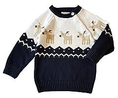 Idea Regalo - YuanDian Bambino Unisex Maglieria Natale Maglione Maniche Lunghe Sweater Caldi Spessi Marina 110 (100-110CM)