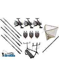3De Pesca Para carpas–Juego de 3cañas 3,60m 3lbs 50–120g WG 3carretes de 3picada electrónicos 1carrete y sacadera de carpas, 1