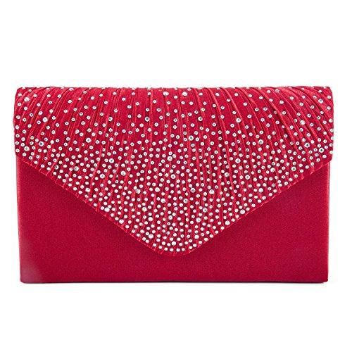 Damen Handtasche Abendtasche Clutch Satin Abend Party Brauttasche Diamante Kupplung Shouler Beutel Der Braut Prom Handtasche Schwarz (Rot) (Rote Satin-abend-tasche)