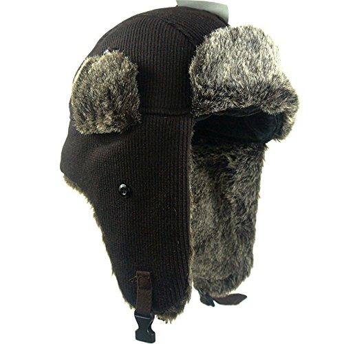 June's Young Hommes/Femmes/Unisexe Hiver Chapeau Bonnet Chapka de Trappeur Aviateur Ski Montagne Protection Oreilles plusieurs styles de porter Tricot café