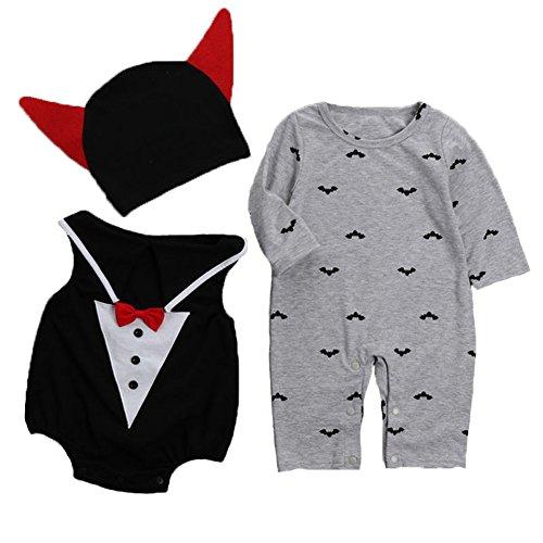 ind Baby Halloween Niedliche kleine Vampir Fantastische Kostüm Neugeborene Spielanzug Bodysuit Outfits (3 Stück) (Kleinkind Teufel Halloween-kostüm)