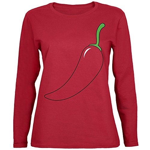 Halloween-Chili Pepper-Kostüm Cinco de Mayo Womens Long Sleeve T Shirt rot (Halloween Mayo Kostüm)