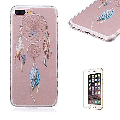 Für iPhone 7 Plus 5.5 Zoll [Scratch-Resistant] Weichem Handytasche Weich Flexibel Silikon Hülle,Für iPhone 7 Plus 5.5 Zoll TPU Hülle Back Cover Schutzhülle Silikon Crystal Kirstall Durchschauen Clear  Campanula