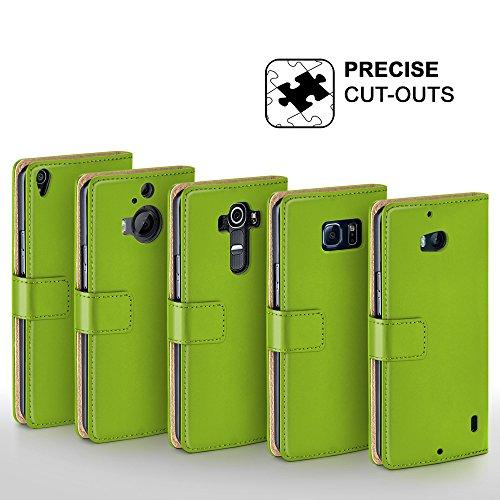 iPhone 6S Hülle Dunkel-Grau mit Karten-Fach [OneFlow 360° Book Klapp-Hülle] Handytasche Kunst-Leder Handyhülle für iPhone 6/6S Case Flip Cover Schutzhülle Tasche LIME-GREEN