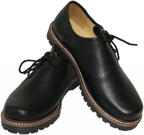 Trachtenschuhe Haferlschuhe Glattleder schwarz Haferlschuh Tracht Profilsohle Schnürschuhe mit leichter Gummisohle Herrenschuhe Trachten-Schuhe, Größe:45