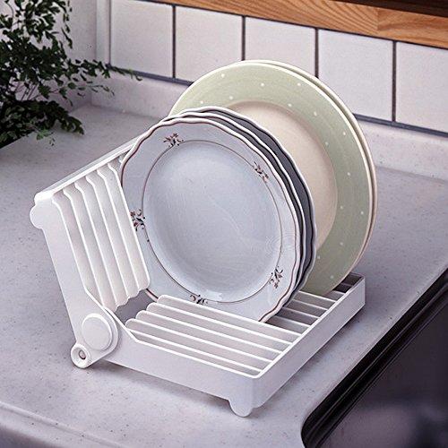 Egouttoir Vaisselles 12 Couverts Plastique Pliable Blanc - Rangement de Vaisselle - Organisateur de Vaisselle - Outil de Cuisine