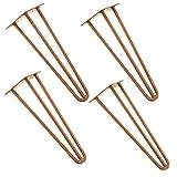 [en.casa]® Robuste Hairpin Leg Tischbeine im 4er Set aus Stahl - kupferfarben - 40 cm - 3 Streben