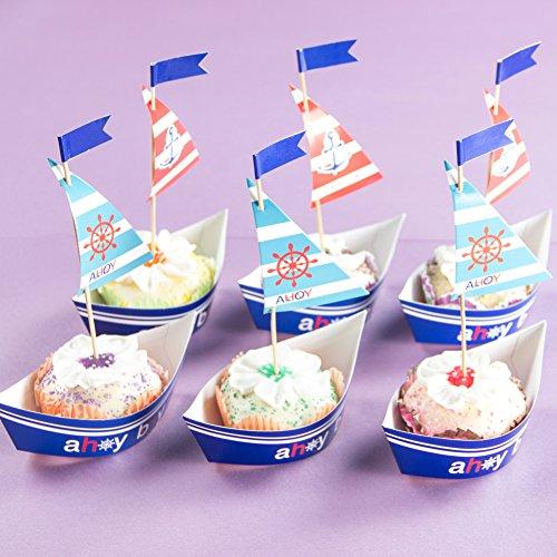 SUNBEAUTY 20 Segel Mottoparty Muffin Deko Cake Toppers Kuchendeko für Geburtstag Junge Babyparty
