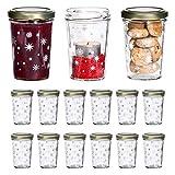 MamboCat 15tlg. Gläserset Sturzglas Gina mit Deckel TO66 Gold | 160 ml | Weihnachts-Gläschen | weiße Sterne und Eisblumen | Einmach-Glas klar
