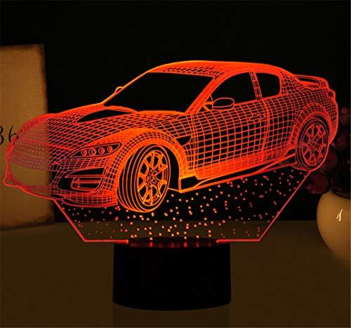 Creative Acrylic Sports Car Luces en 3D que conducen a colores de colores Usb Night Lights 7 colores Cambiar habitación del bebé Luces para niños Regalos de Navidad Protección Luces para los ojos ## 4