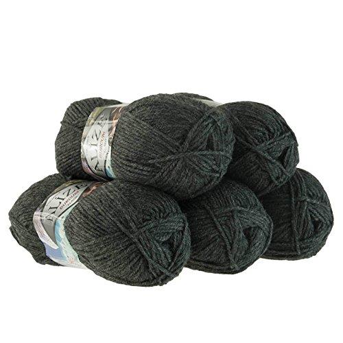 5 x 100g Strickgarn Strickwolle Alize BURCUM Uni/einfarbig, wähle Deine Farbe, Farbe:195 anthrazit Melange