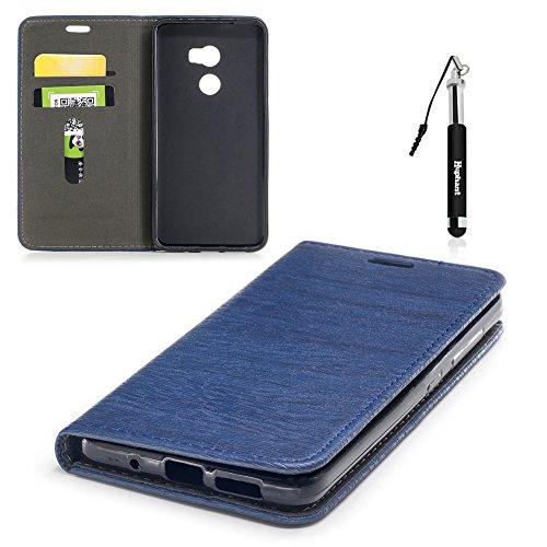 HTC One X10 Hülle, HTC One X10 Tasche Leder, Huphant Flip Case Leder [Auto-Magnet Wood Print Serie]PU Leather Case Wallet Case Magnet Case Schutzhülle Klappbar für HTC One X10(5,5 Zoll) - Dunkelblau