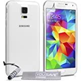 Yousave Accessories Ultra Dünn Silikon Gel Cover mit Mini Stylus Pen für Samsung Galaxy S5, transparent