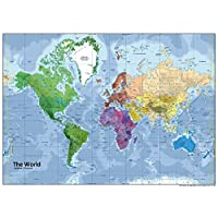 Tiger Moon A0 Vinyl World Political/Physical Map for Display/Hanging on Wall | Giant Size