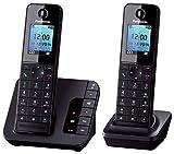 Panasonic KX-TGH222GB Komfort-Telefon mit Anrufbeantworter, Wecker & Babyphone, Schwarz