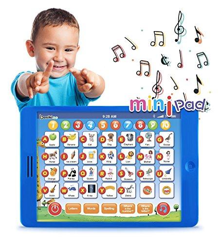 Tablet Pad de Aprendizaje en inglés Infantil y Divertida de Boxiki Kids con 6 Juegos De Aprendizaje para Niños Pequeños por Juguetes de Desarrollo Infantil Temprano para Aprendizaje de Números, Aprender el ABC, Deletreo, Juego ¿Dónde está?, Melodías. Juguete Educativo
