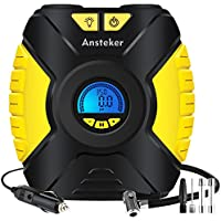 Ansteker Tyre Inflator - Portable Air Compressor Car Tyre Pump with 3-Mode LED Light - Backlit Digital Pressure Gauge - Valve Adaptors for Car Bicycles Tires, Basketballs and Other Inflatables, 12V