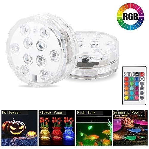 ONEVER Unterwasserbeleuchtung, 10 LED ferngesteuerte RGB batteriebetriebene Unterwasser Nachtlampe Outdoor Vase Bowl Garden Party Dekoration -