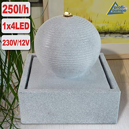AMUR Gartenbrunnen Brunnen Zierbrunnen Zimmerbrunnen Brunnen Ampfore Venus lichtgrau mit LED-Licht 230V Wasserfall Wasserspiel für Garten, Gartenteich,...