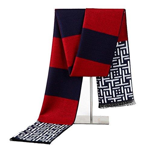 QJIAXING Moderner Schal der Männer gebürsteter Baumwollplaid-Geschäfts-Freizeit-Halstuch mit Geschenk-Kasten 180 * 30cm , b , 180*30cm (Hahnentritt Wolle-mischung)
