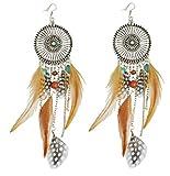 Les Plaisirs de Stella Ohrringe sehr lang, Silber-aus verchromten Metall und Federn Azteken Inka Optik, indischer Modeschmuck für Damen