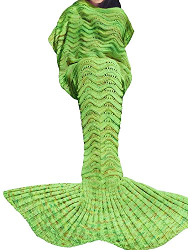 iiniim Meerjungfrau Schwanz Gestrickte Decke Schlafsack Blanket Decke für Mädchen Damen Apfelgrün (Für Erwachsene)