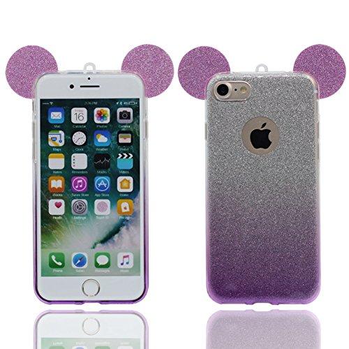 iPhone 6S Copertura Protettiva Bello Cartoon Topo Orecchie Forma Polvere glitter Serie Magro leggera Trasparente Morbido Custodia Case per Apple iPhone 6 6S 4.7 inch viola