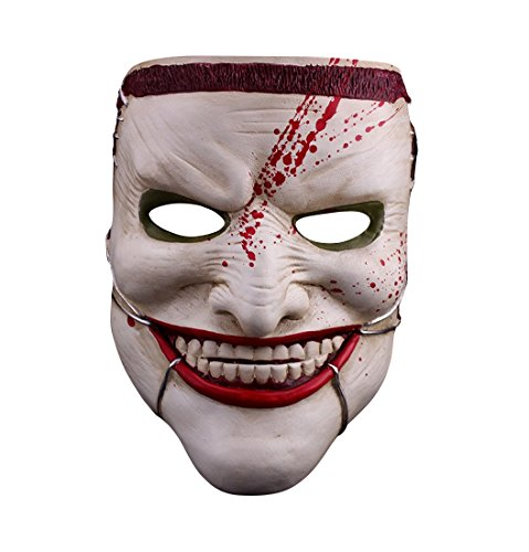 Death of the Family - Joker Maske hochwertige QUALITÄT - handbemalt aus Kunst-Harz 500g schwer Batman Dark Knight - Kostüm Karneval Fasching Halloween thematys® (Dark Knight Joker Kostüm Cosplay)