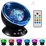 Ghope Bedside lamp Music Player Christmas Gifts Night Light Ocean Projector Ceiling Light Mini Ocean Waves Sea Remote Control Romantic Decor For Bedroom Living Room Children's Birthday Gift, Schwarz