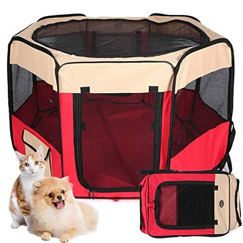 Maxmer Recinzione per Cani e Gatti Recinto per Cani da Interno in Nylon Tenda per Cuccioli Ventilato e Respirante da Viaggio e Giardino Cuccia Pieghevole
