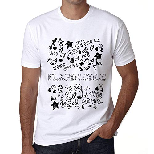 Flapdoodles Rock (Herren Tee Männer Vintage T Shirt Doodle Art FLAPDOODLE Weiß)