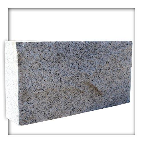 Kieskönig Mauerstein Granit Naturstein Hellgrau 40x7,5x20 cm Gesägt Trockenmauer Verblender Sockel 20 Stück (1,6 m²)