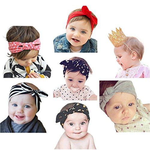 JMITHA Baby Stirnbänder Baby Mädchen Stretch Nett Kaninchenohren Gedruckt Turban Stirnband Kopf Handgefertigte Wolle Haarband (11) (Baumwolle Wolle Gedruckt)